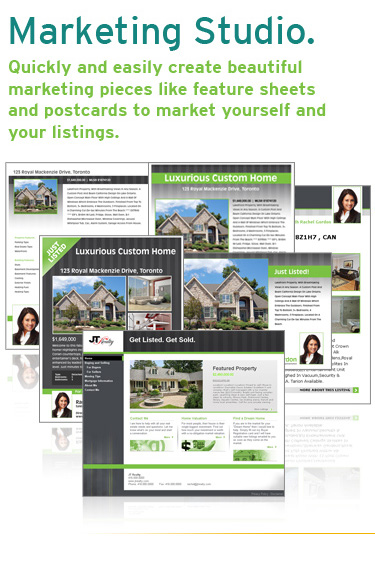 Marketing Studio. Quickly and easily create beautiful marketing pieces like feature sheets and postcards to market yourself and your listings.